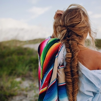 blanket beach rainbow multi colored hairstyles braid spring break summer beauty