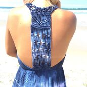 dress,blue,tie dye,maxi dress