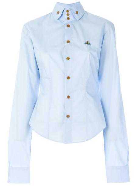 Vivienne Westwood Anglomania - fitted high collar shirt - women - Cotton/Spandex/Elastane - 40, Blue, Cotton/Spandex/Elastane
