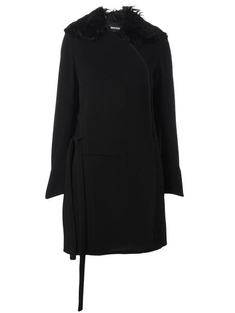 ANN DEMEULEMEESTER coat fur zip women cotton black