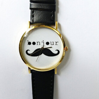 jewels watch etsy freeforme style fashion handmade bonjour moustache