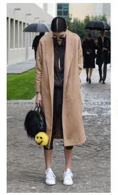 coat,jumpsuit,milan fashion week 2016,streetstyle,camel coat,fashion week 2016,bag