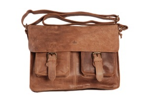 Tobacco brown vintage leather satchel with buckles by rowallan from perfect bags for men