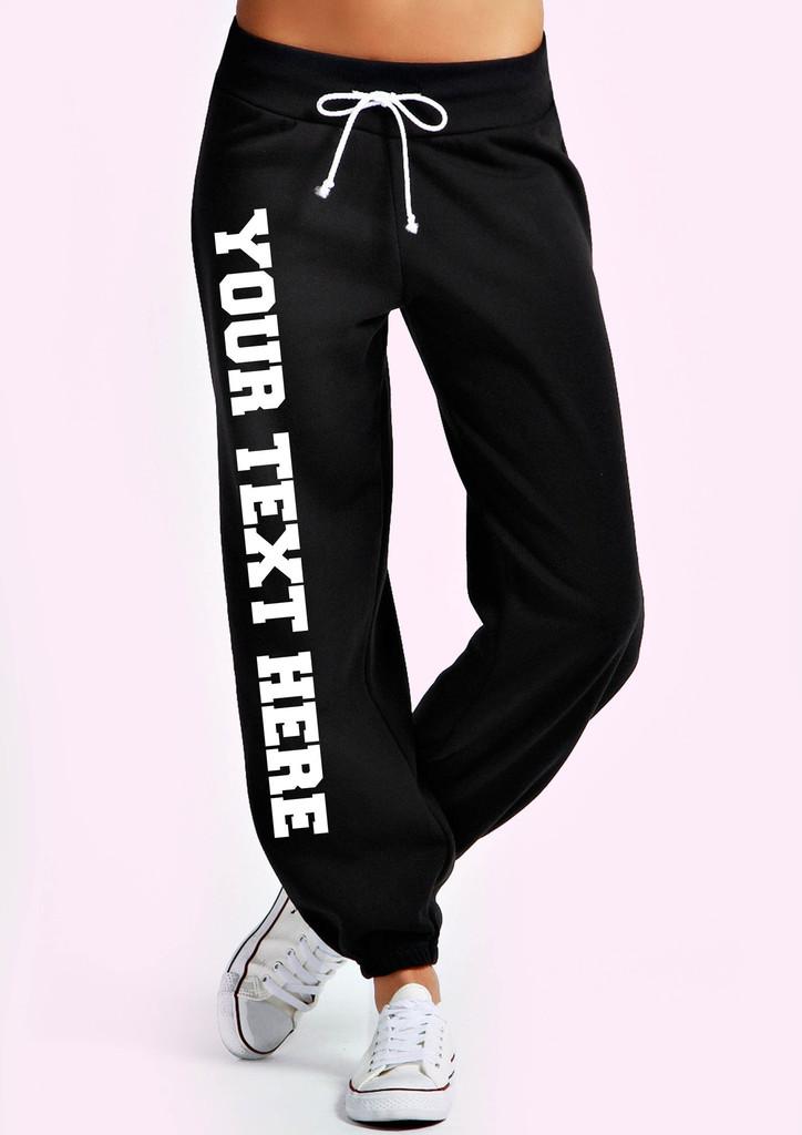 Personalised black jogging bottoms