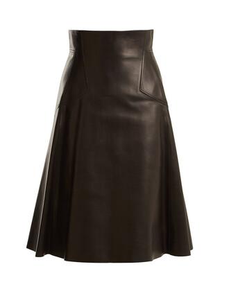 skirt high leather black