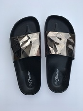shoes,beach,beach slides,pewter slides,sandals,slippers