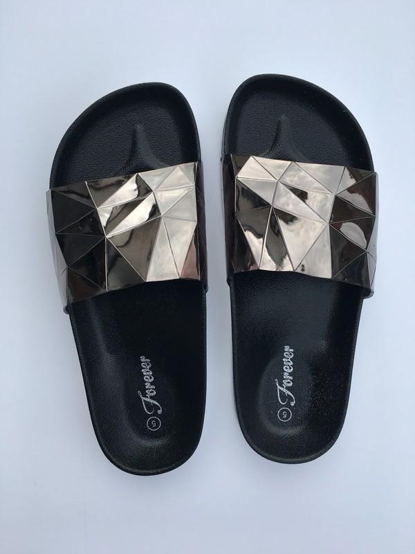 shoes beach beach slides pewter slides sandals slippers