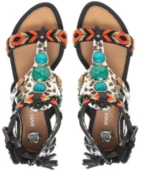 shoes spring summer flat sandals sandals tribal orange turquoise