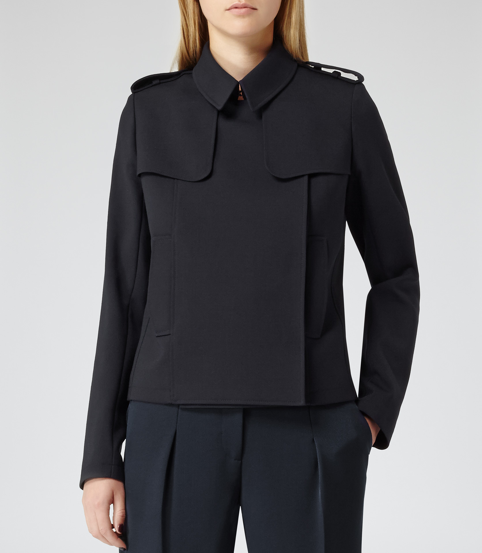 Caitlin Lux Blue Cropped Trench Jacket - REISS