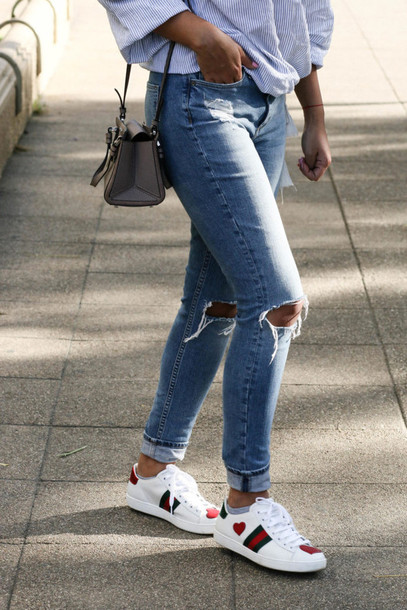 Jeans tumblr blue jeans skinny jeans ripped jeans sneakers gucci sneakers gucci gucci ...