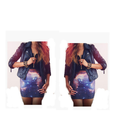 jacket perfecto skirt galaxy bustier corset top outfit