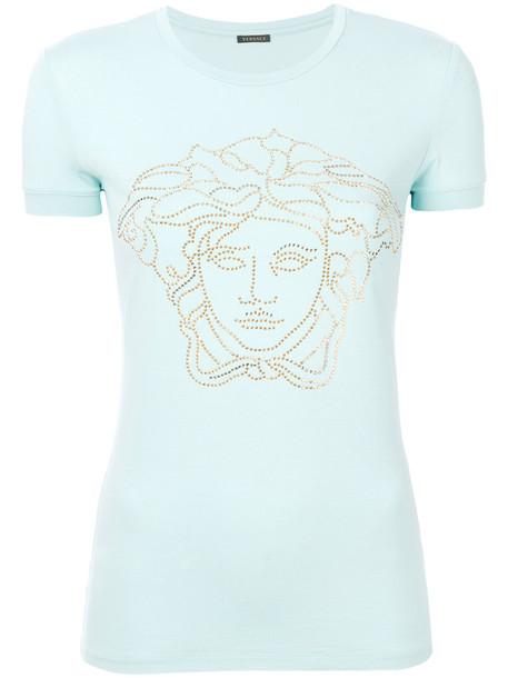 Versace - medusa stud T-shirt - women - Spandex/Elastane/Viscose - 48, Blue, Spandex/Elastane/Viscose