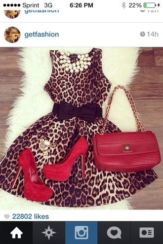 dress leopard print red shoes tea cup fit and flare dress