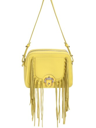 bag shoulder bag leather yellow