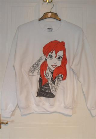 Unique white littel mermaid ariel sweatshirt  indie festival