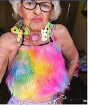 tank top,crazy,old,rainbow,fourrure,fur,furry top,fluffy,top,multicolor,fluffy top,crop tops