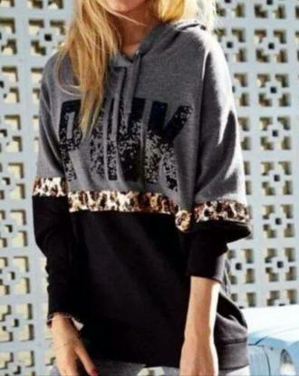 leopard print victorias secret top pink by victorias secret girly hoodie grey hoodie jacket sweatshirt sweater