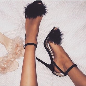 shoes heels black fluffy fur black shoes black heels feathers girly party party outfits high heels fluffy heels