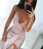 dress,pink,silk,wrap dress,sexy dress,iphone,silk dress,flowy dress,nude dress