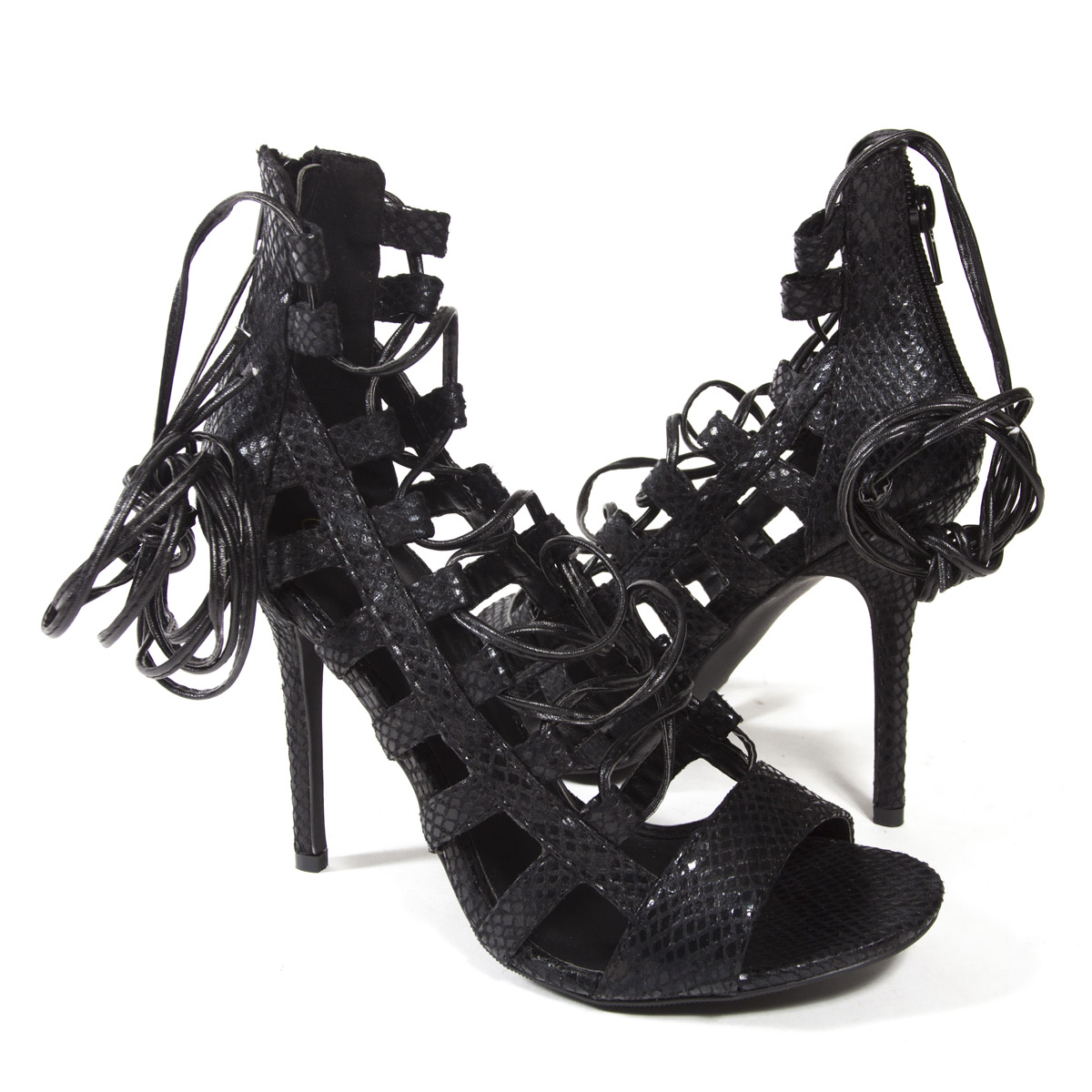 cd045798a9b5 Women Black Open Toe Lace Up Strappy Gladiator Stiletto High Heel ...