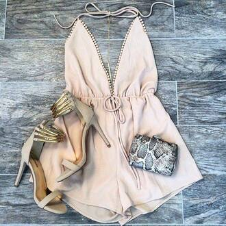 jumpsuit beige shorts wallet shoes heels sexy hot outfit outfit idea hair accessory hat