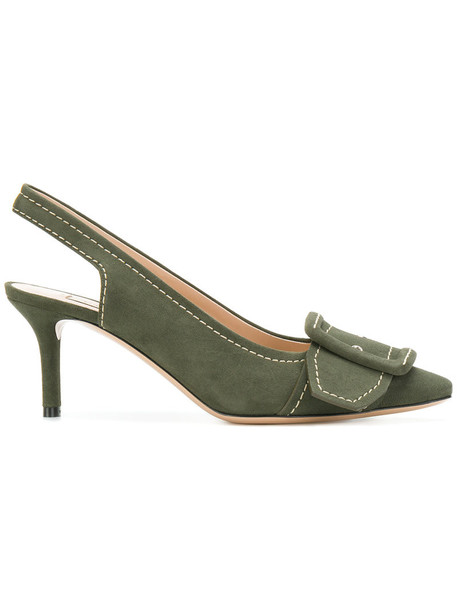 CASADEI women pumps leather green shoes
