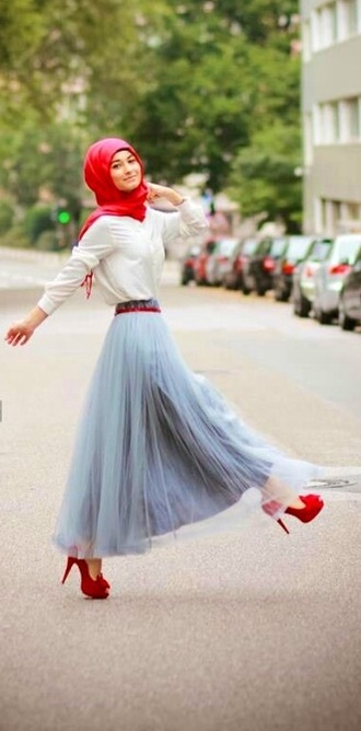skirt girly grey maxi skirt maxi high heels poofy skirt hijab red lime sunday