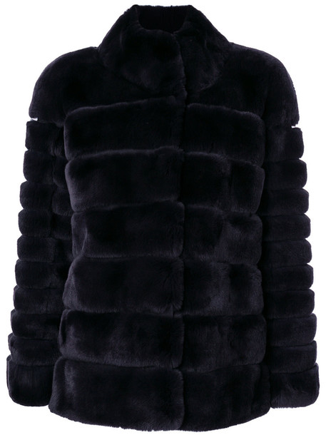 N.Peal jacket fur women black satin