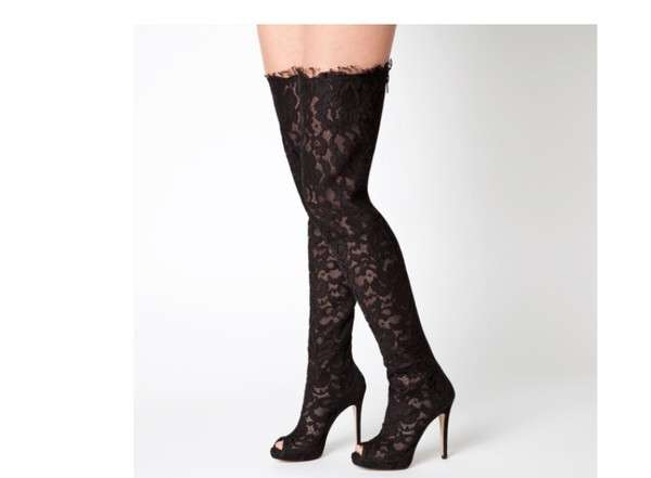 Nazzell Thigh-High Lace-Up Boots at Guess