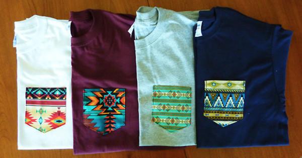 T shirt aztec sweater wheretoget for Custom pocket t shirts