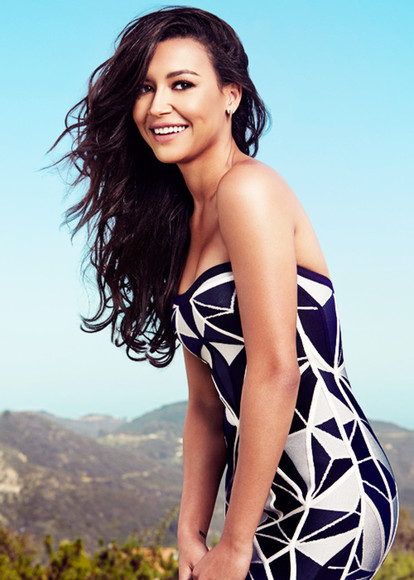 naya rivera dress black white