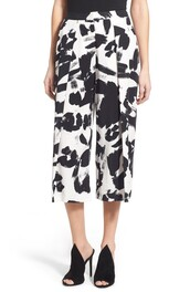 pants,culottes,cropped pants,black and white,print,printed pants,painting,kendall + kylie label