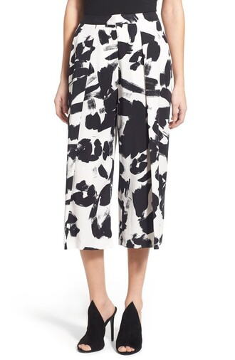pants culottes cropped pants black and white print printed pants painting kendall + kylie label
