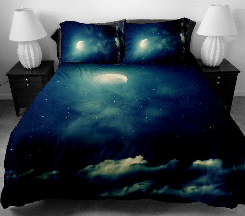 Moon and cloud bedding set moon and cloud duvet cover moon and cloud sheet with two matching moon and cloud pillowcases