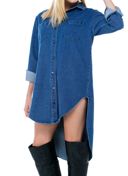 Kylie denim oversized button up shirt dress