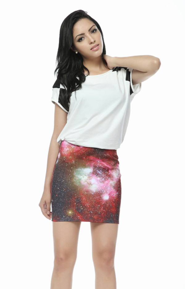 skirt cute space pattern galaxy print