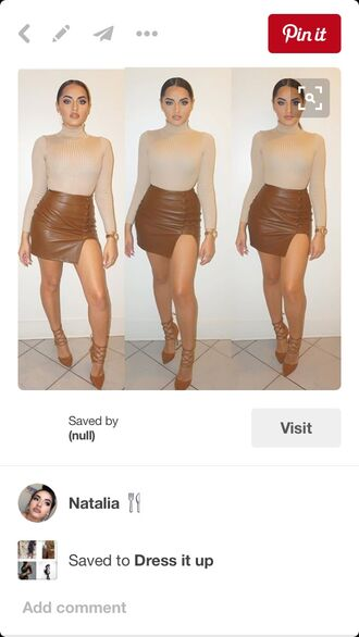 top tumblr outfit nude heels long sleeves mini skirt crop tops turtleneck bodycon tight cute pink pinterest