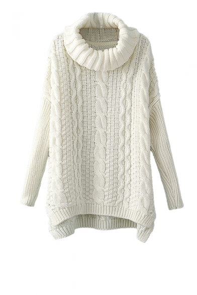 Cable knit high neck sweater with dip hem