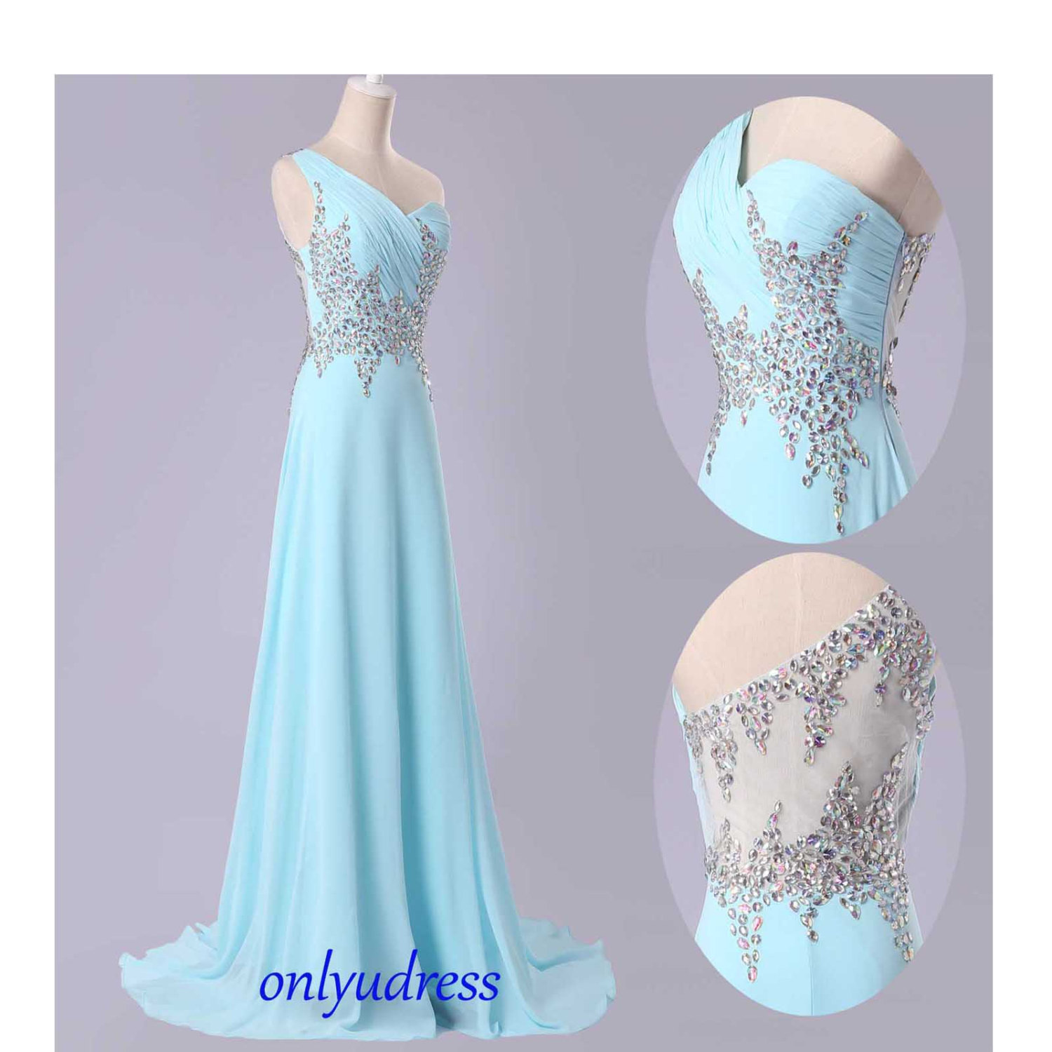 Gorgeous one shoulder evening dresses rhinestone custom for Baby blue wedding guest dress