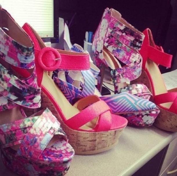 05d0172aede6 shoes high heels heels heel wedges floral shoes floral red scarlet pink  dark pink hot red