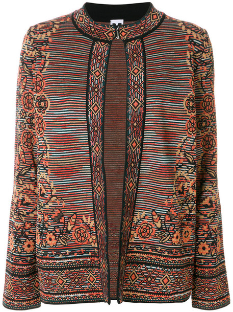 M Missoni jacket embroidered jacket embroidered women wool brown