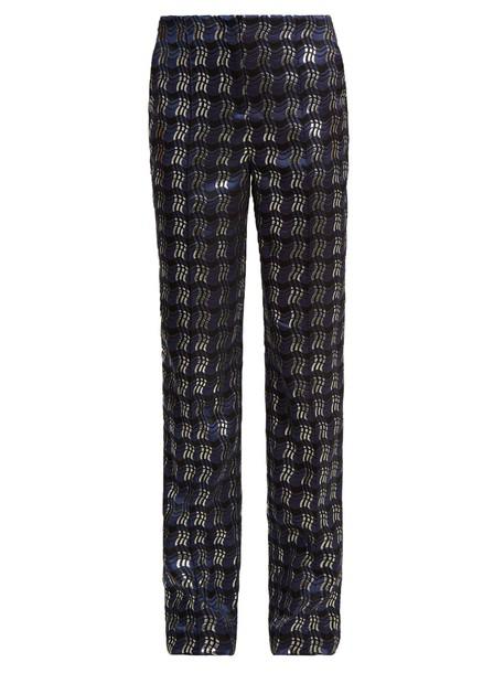Diane Von Furstenberg jacquard navy pants