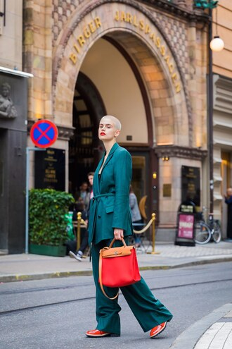 pants stockholm fashion week streetstyle teal blue pants wide-leg pants blazer blue blazer matching set power suit bag red bag