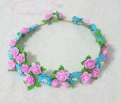 hair accessory,small rose,flower crown,hairstyles,accessories,headpiece,headband,wedding,party,birthday gifts for her,women,teen girls,summer,flower headband,flower headpiece,flower paper,gift ideas