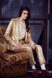 jacket,paul & joe,lookbook,fashion,gold,pants