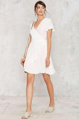 dress white dress nastygal wrap dress white wrap dress