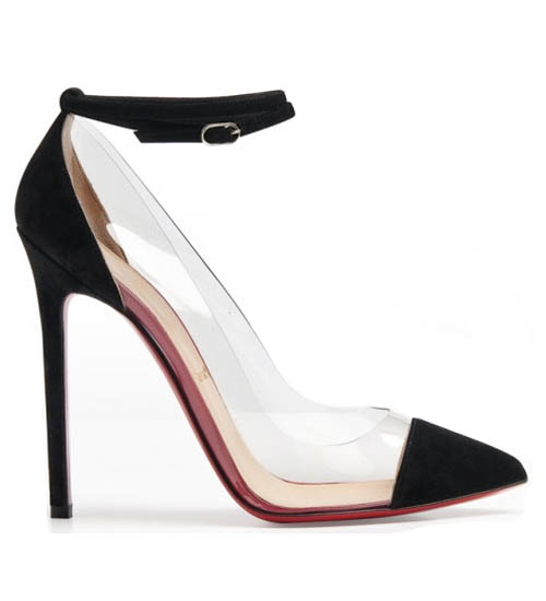 Christian Louboutin Bis Un Bout 120 Suede PVC Black Pumps Outlets