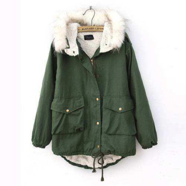 Jacket: army green jacket, coat, winter outfits, green, winter ...