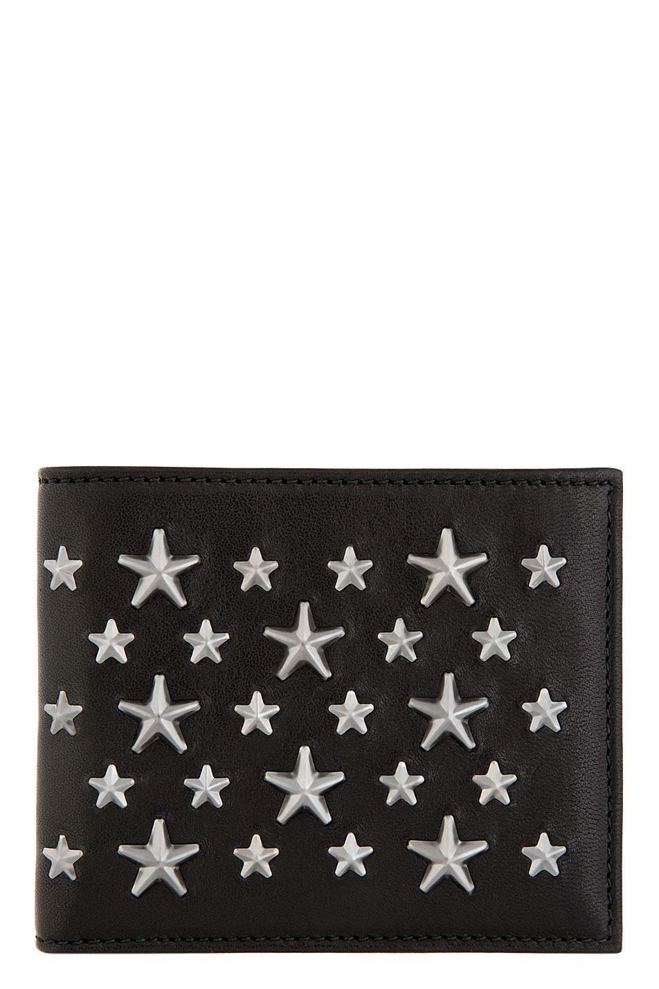 Jimmy choo black star_ studded mark bifold wallet