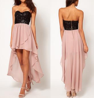 dress asymmetrical party dress pink glitter stapless gold black nude